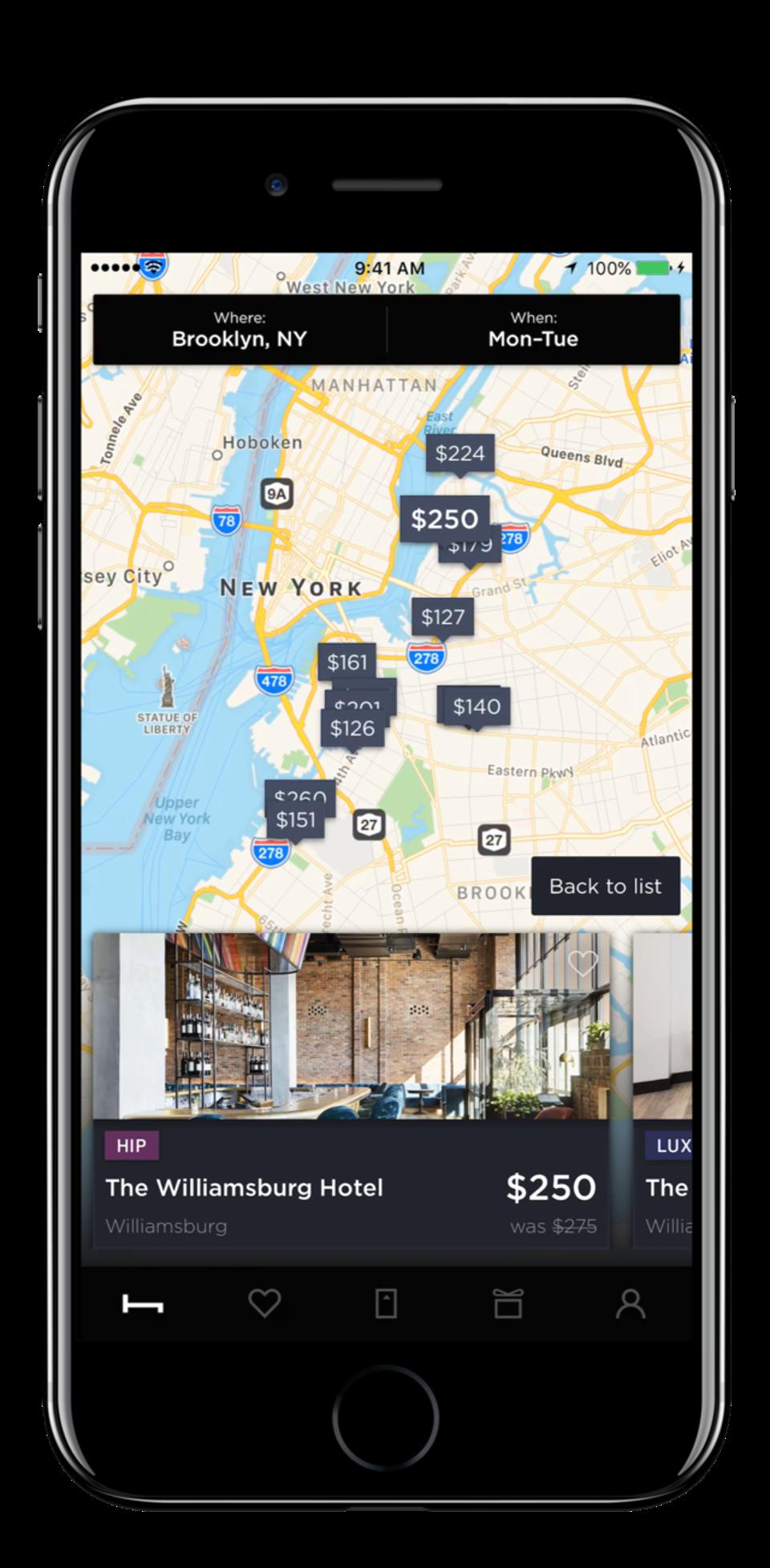 Selecting hotels on the HotelTonight app.