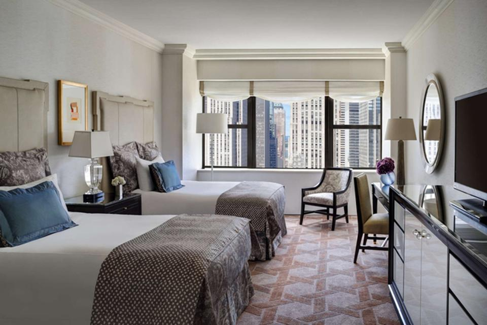 A room in Lotte New York Palace, one of the hotels available on the app.