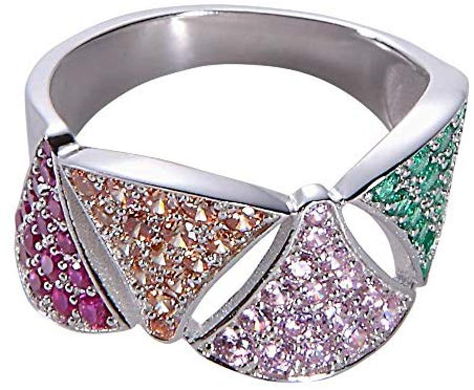 Jenna Hunter CZ Colorblock Geo Ring for Women
