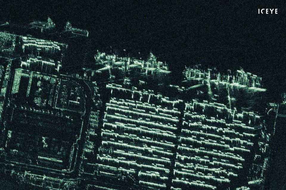 ICEYE radar satellite imagery of a port container terminal near Port Harcourt, Nigeria.