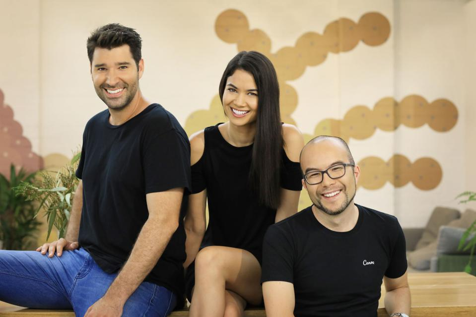 Canva cofounders Cameron Adams, Cliff Obrecht and CEO Melanie Perkins, right, have reached a $3.2 billion valuation for their Australian-founded design software.