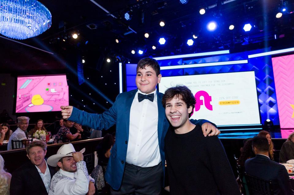 Influencers Vardan Antonyan and David Dobrik in crowd during 2018 Streamy Awards.