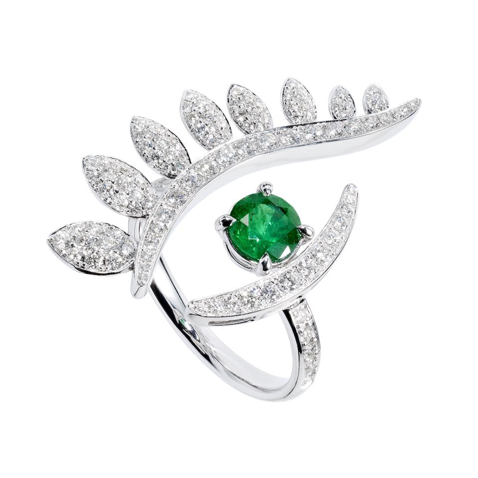Third Eye Series ring by Tabayer, white gold, diamonds and emerald.