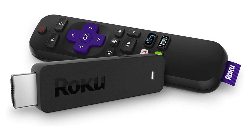 Black Roku Streaming Stick on a white background.