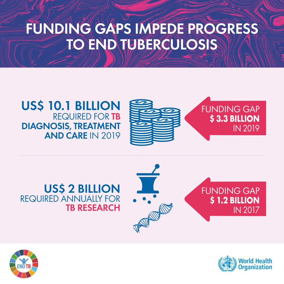 Global TB Report shows big gaps in funding for TB care as well as R&D