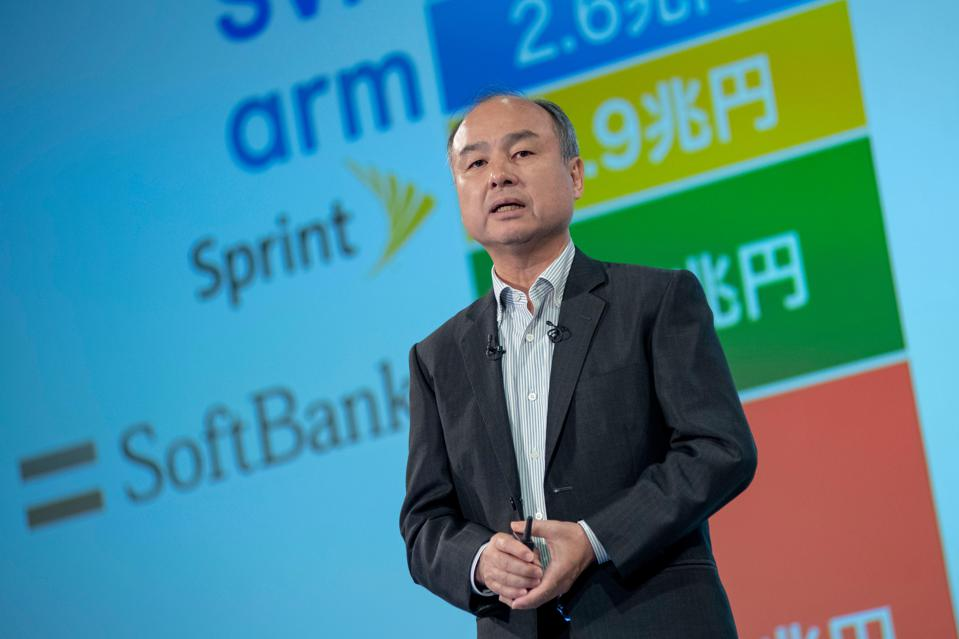 Masayoshi Son, chairman and CEO of SoftBank Group, speaks during a news conference.