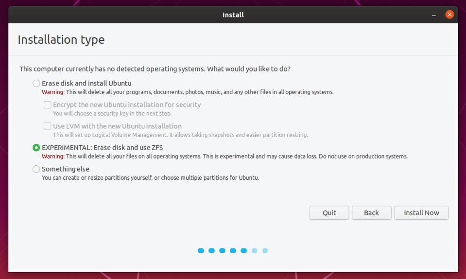 Ubuntu 19.10 has an option to use ZFS right out of the box