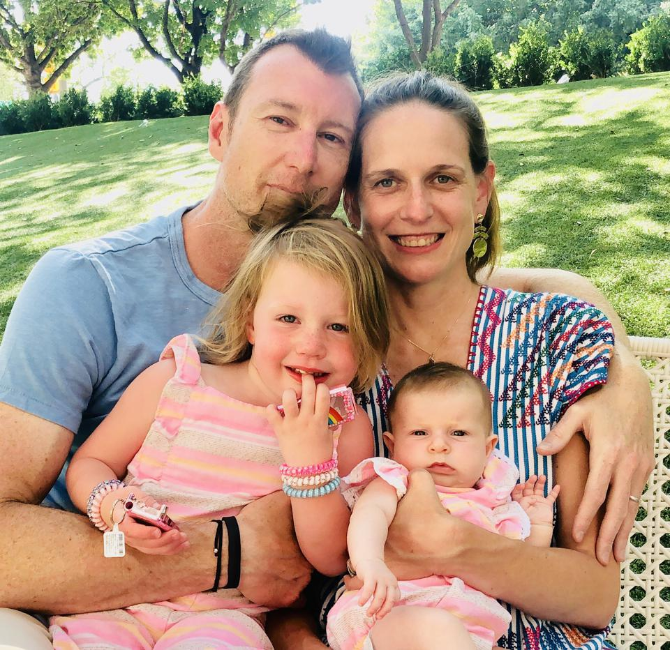 Family photo of Colleen, Jason and their two little girls