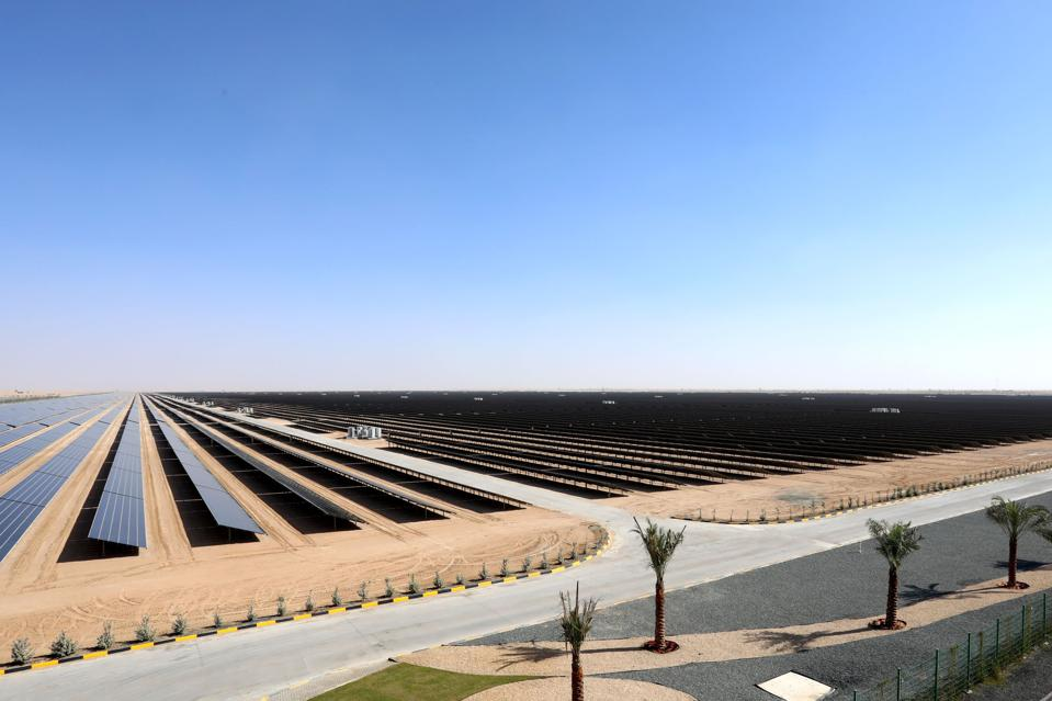 A field of solar photovoltaic panels that form part of the Mohammed bin Rashid Solar Park in Dubai, United Arab Emirates, on 17 January 2018.