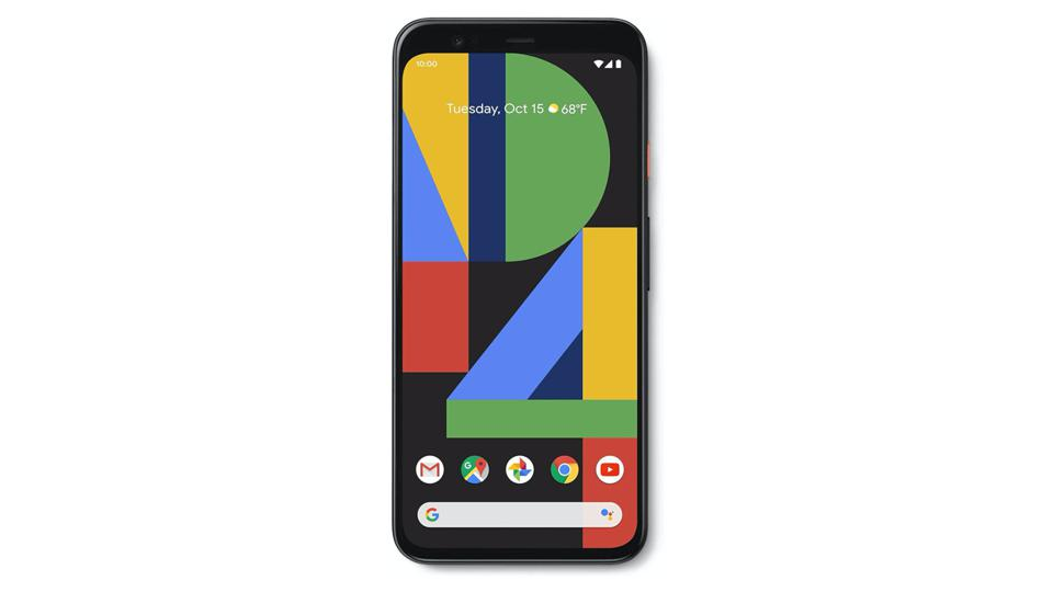Black Google Pixel 4 smartphone on a white background.