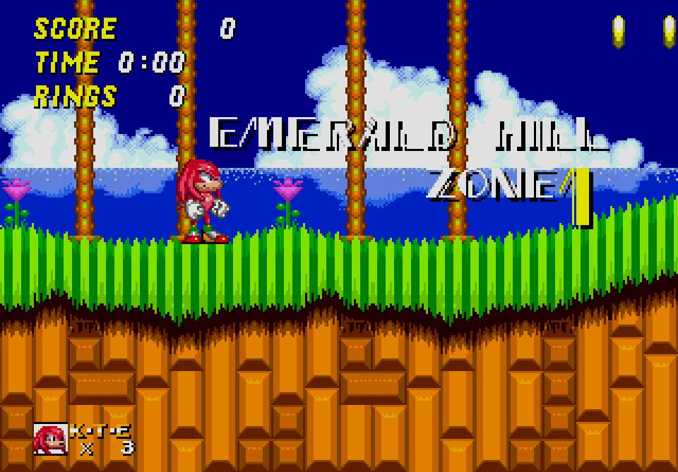 Knuckles in Sonic 2 Emerald Hill Zone
