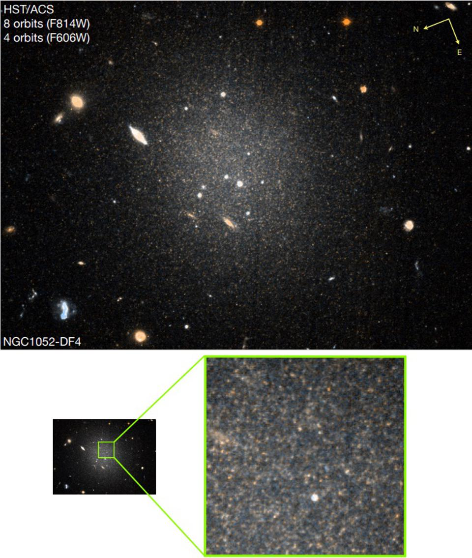 The new data on galaxy NGC 1052-DF4, as taken with the Hubble Space Telescope.