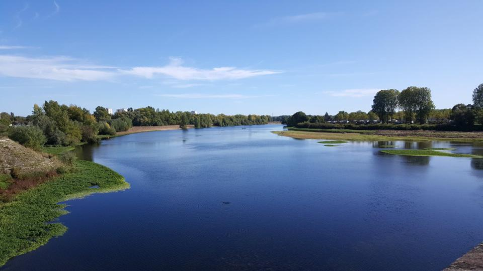 Loire River running through Burgundy countryside in France