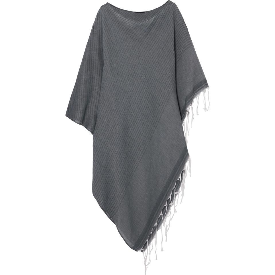 Su Paris Syama Fringed Striped Cotton-Gauze Poncho
