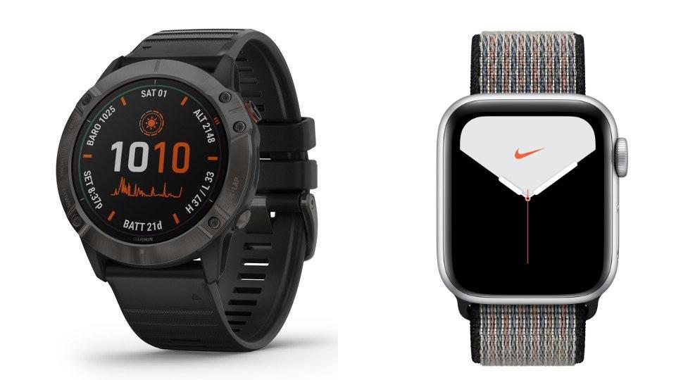 Garmin Fenix 6X Pro Solar vs. Apple Watch Series 5 Nike+ Edition