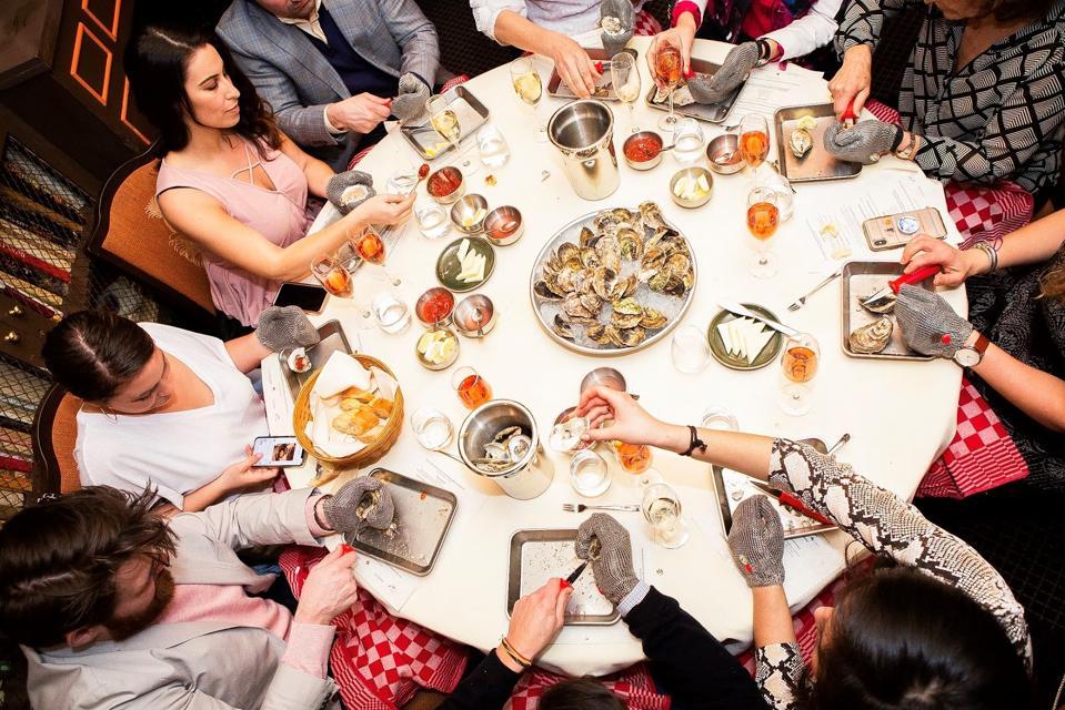 An oyster shucking class at the James Beard House in Manhattan.