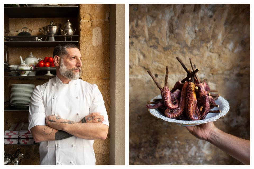 Chef Assaf Granit stands his arms folded (left). A plate of cooked octopus (right).