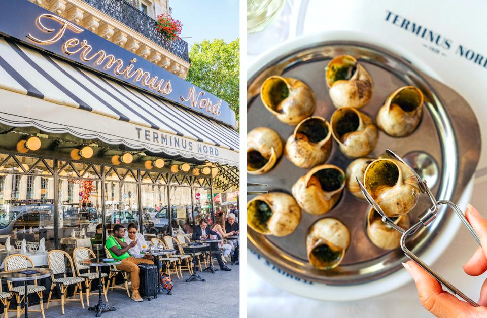 The exterior of the Terminus Nord brasserie in Paris (left) and a plate of snails (right).