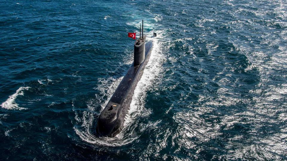 Turkish submarine TCG Preveze  during NATO exercise Dynamic Manta 2018