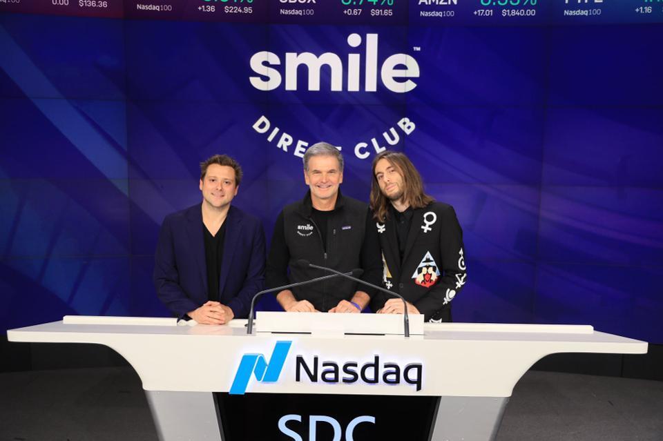 From left: SmileDirectClub cofounder Alex Fenkell, CEO David Katzman, and cofouner Jordan Katzman on its IPO day.