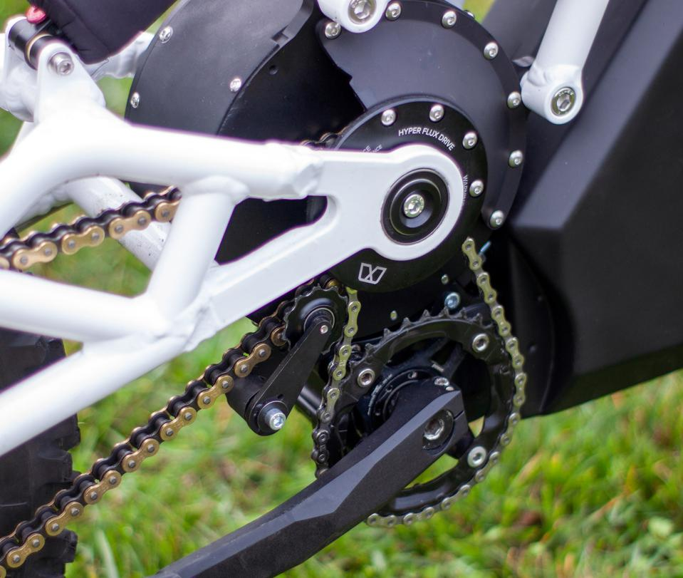 The FRX1 uses a dual-chain system for utilizing the pedals or the Hyper Flux Drive motor.