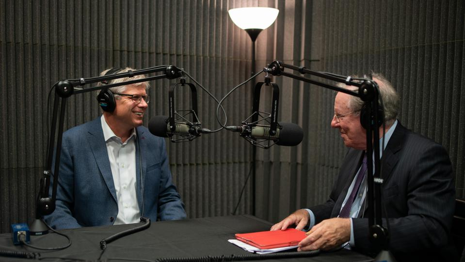 Steve Mollenkopf of Qualcomm with Steve Forbes recording the podcast ″What's Ahead″