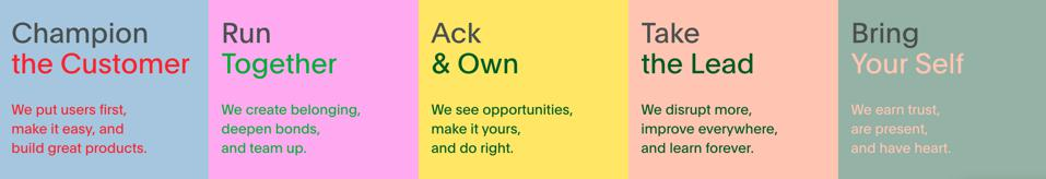 PagerDuty's five values: Champion the Customer, Run Together, Ack & Own, Take the Lead, and Bring Your Self.
