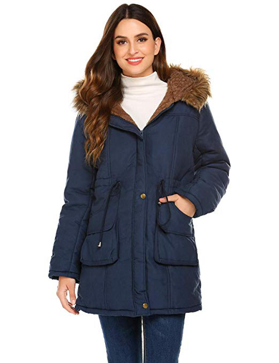 Meaneor Women's Hooded Warm Winter Faux Fur Lined Parka