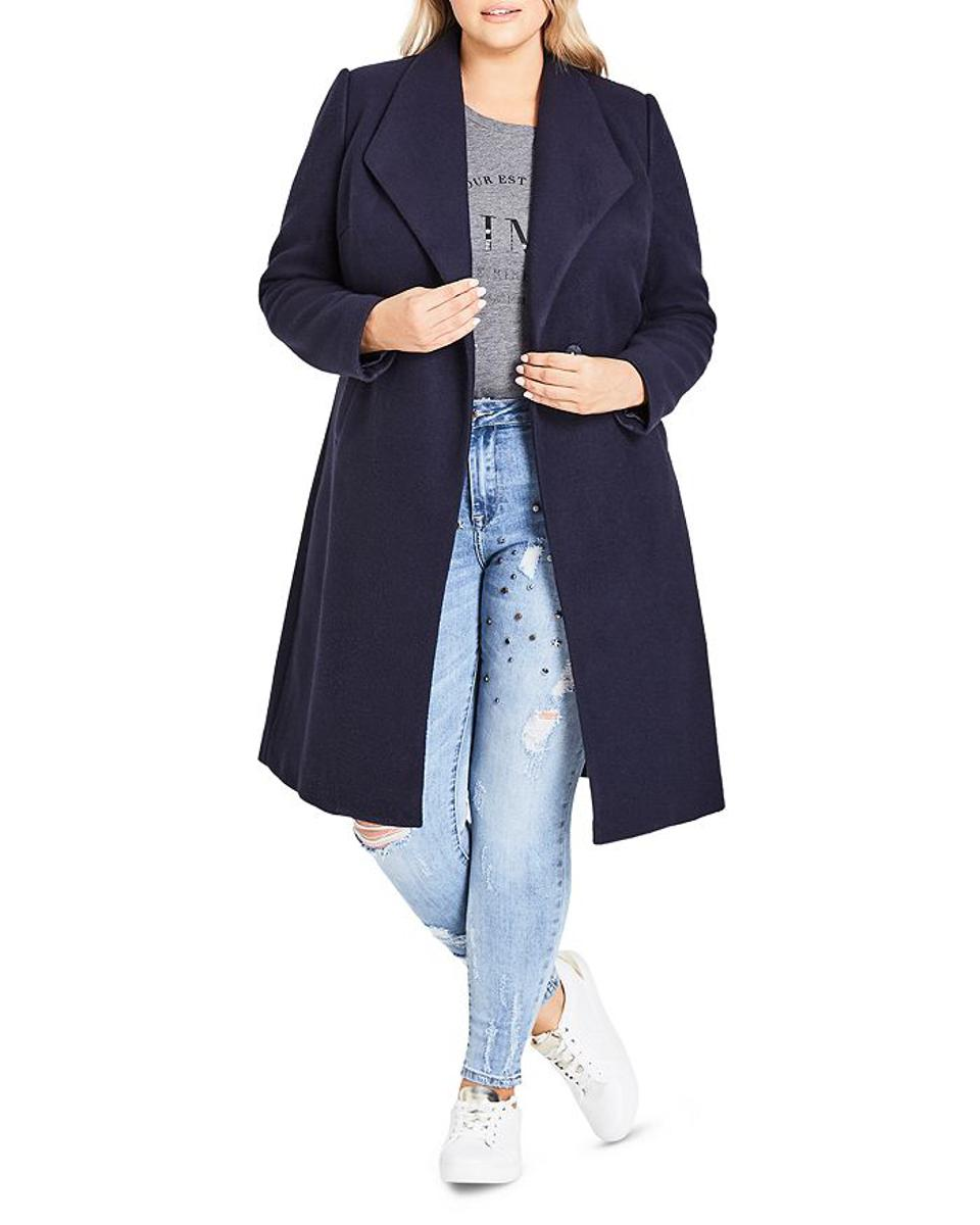 Plus Size Mid Length Coat