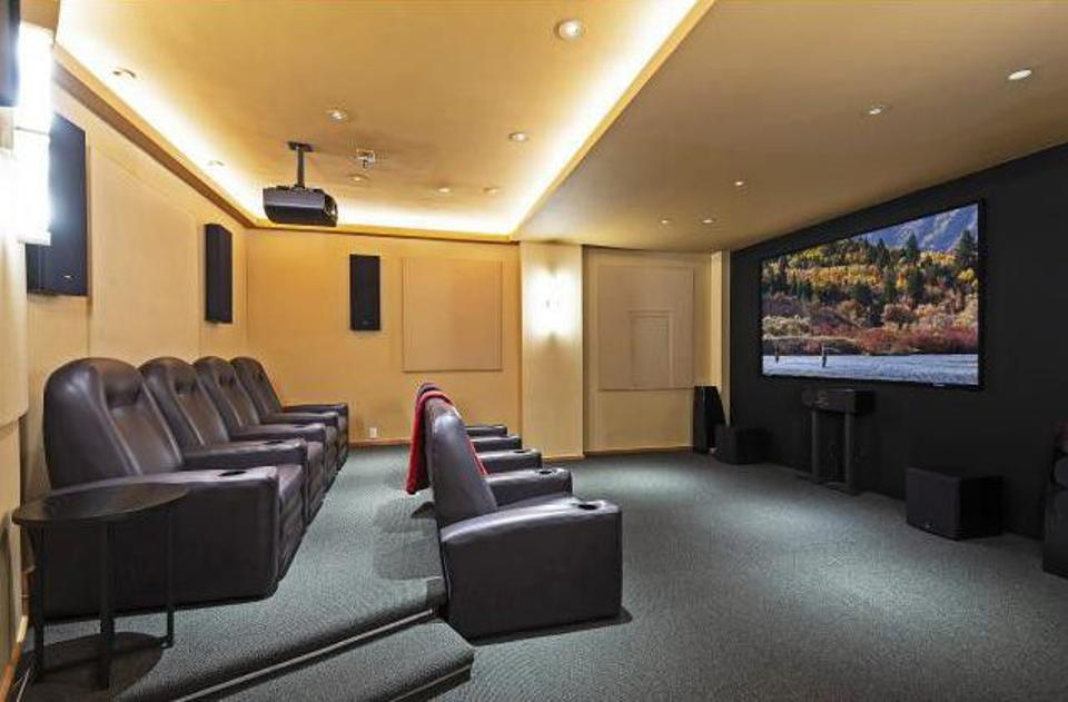 The home features a private movie theater.