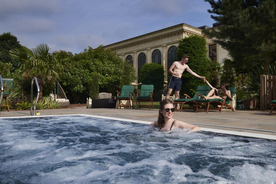 Summer dip in the hot tub at Stoke Park
