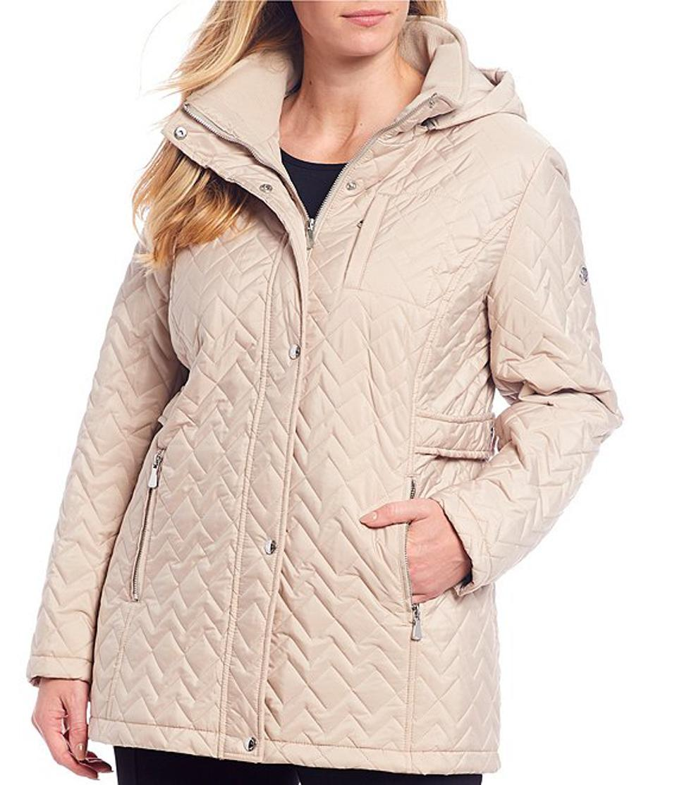 Plus Size Quilted Removable Hooded Coat