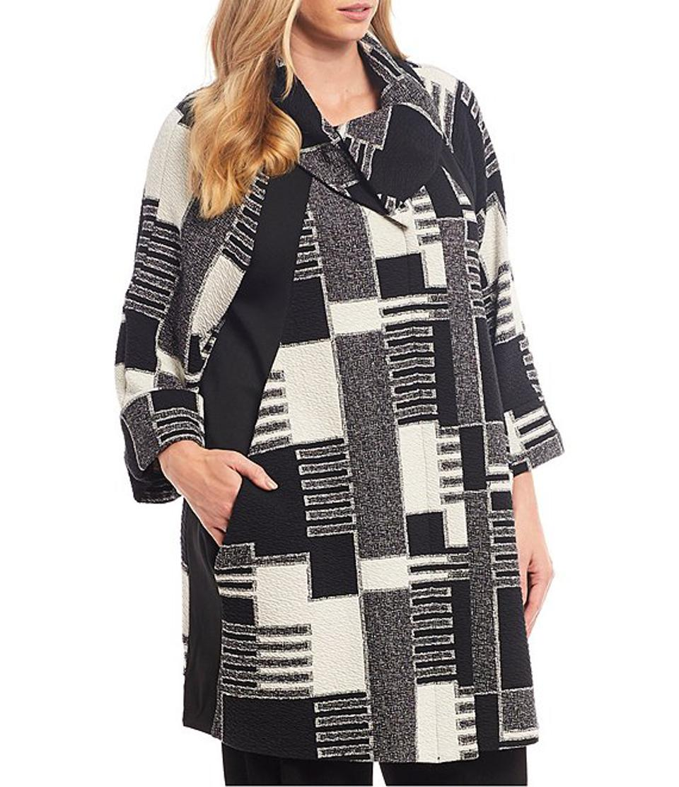 IC Collection Plus Size Patchwork Print Cotton Blend Boucle Coat