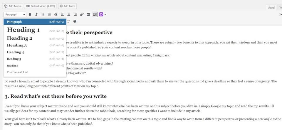 WordPress screenshot showing how to make subheads into H2 tags