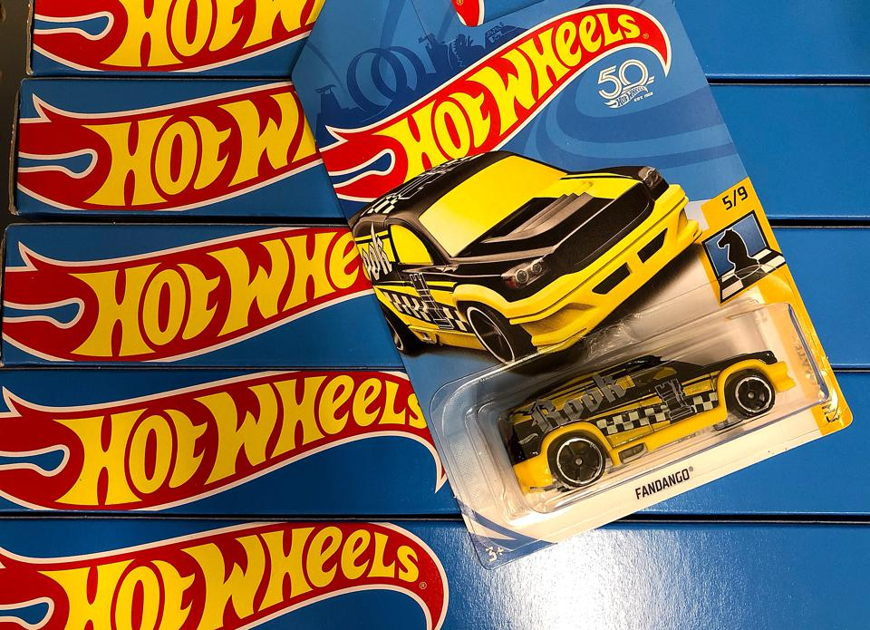 Hot Wheels, made by Mattel, are displayed on a shelf at a Target store in San Rafael, California.