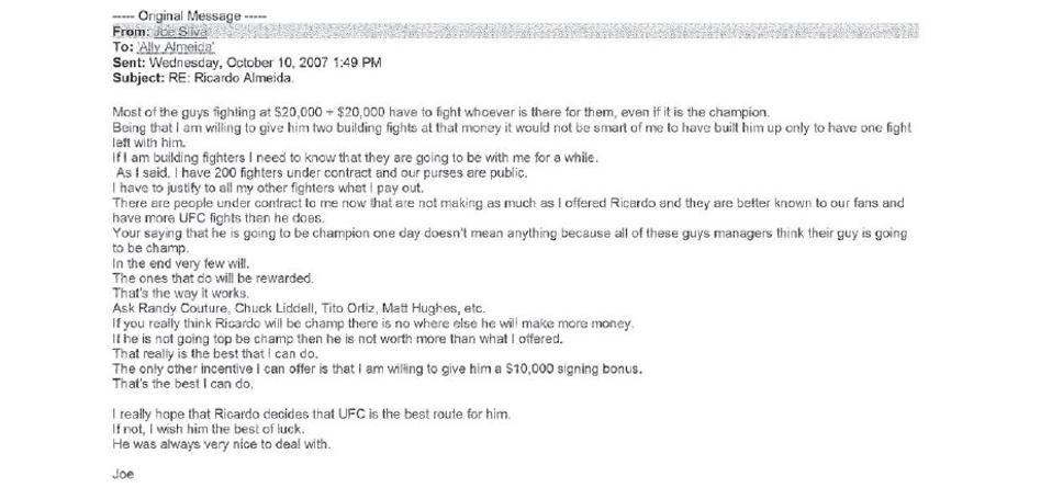 Joe Silva email to Ally Almeida