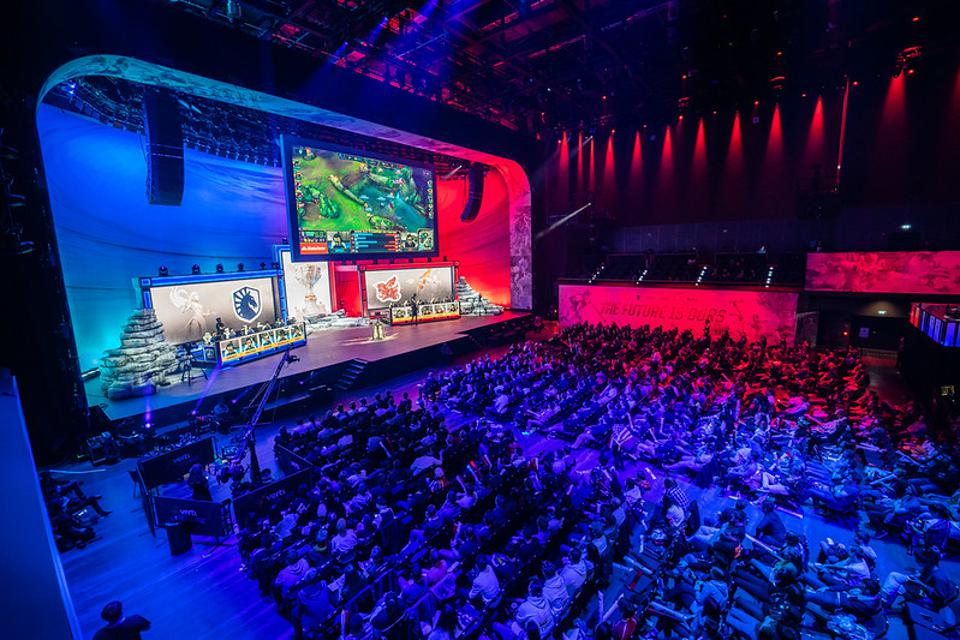 A shot of the stage and crowd at the League of Legends World Championship.