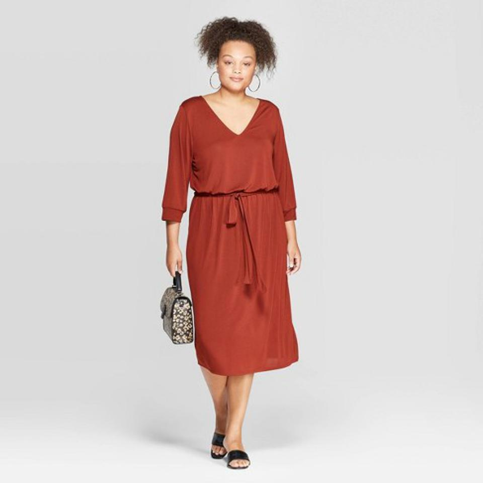 Ava & Viv Women's Plus Size V-Neck Midi Dress