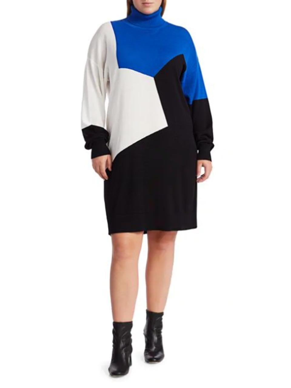 Joan Vass Plus Size Colorblock Turtleneck Sweater Dress