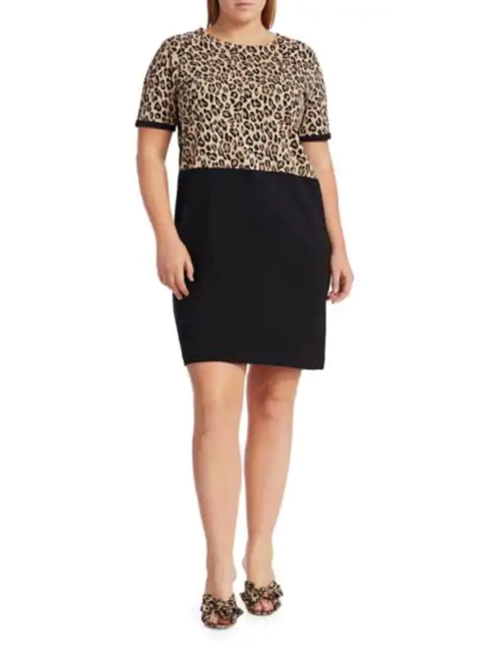 Joan Vass Plus Size Animal Print Colorblock Shift Dress