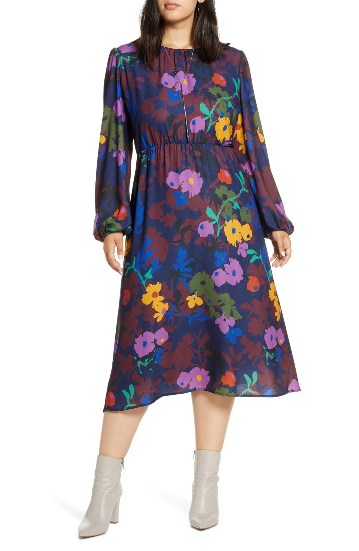Halogen Long Sleeve Midi Dress