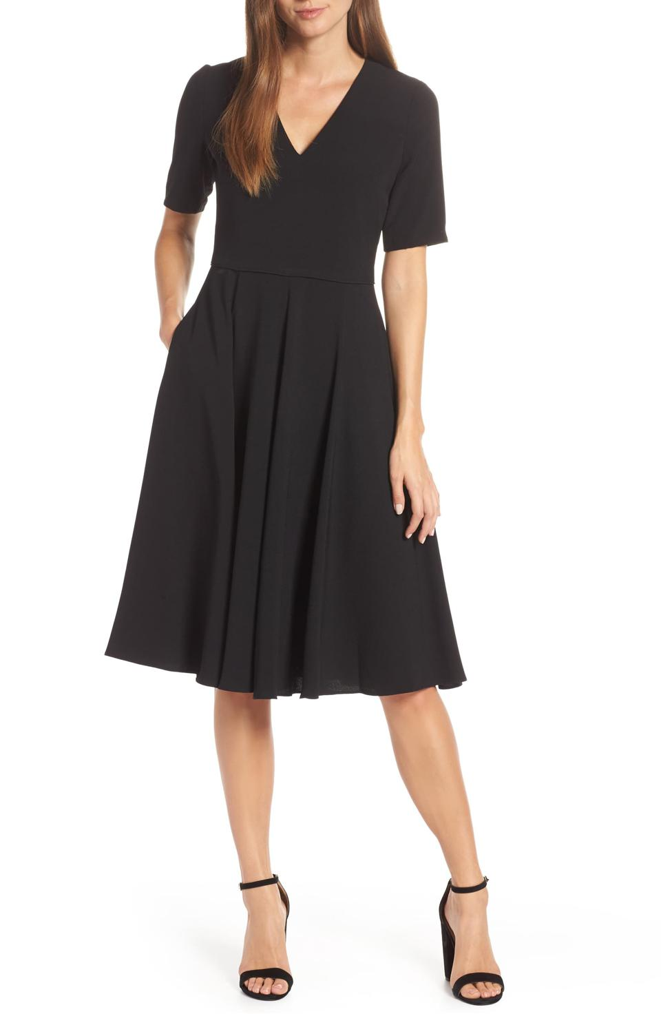 Nordstrom Gal Meets Glam Edith City Crepe Fit & Flare Midi Dress