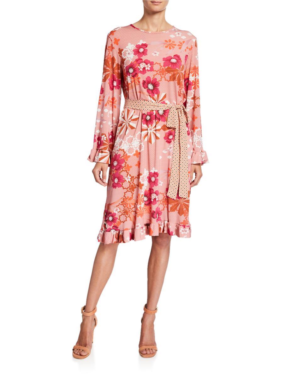 Melissa Masse Floral Dot Print Dress