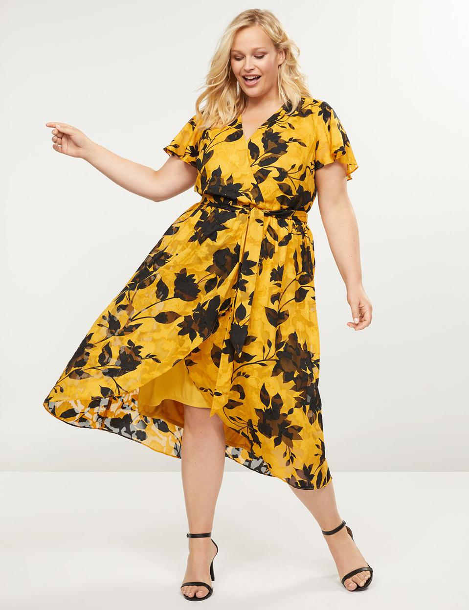Lane Bryant Textured Floral Faux-Wrap Midi Dress