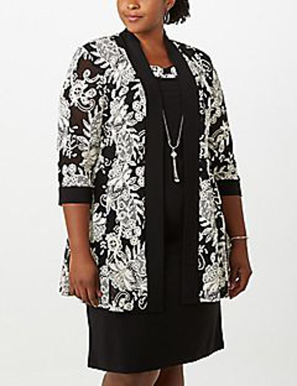 Dressbarn Floral Textured Jacket Dress