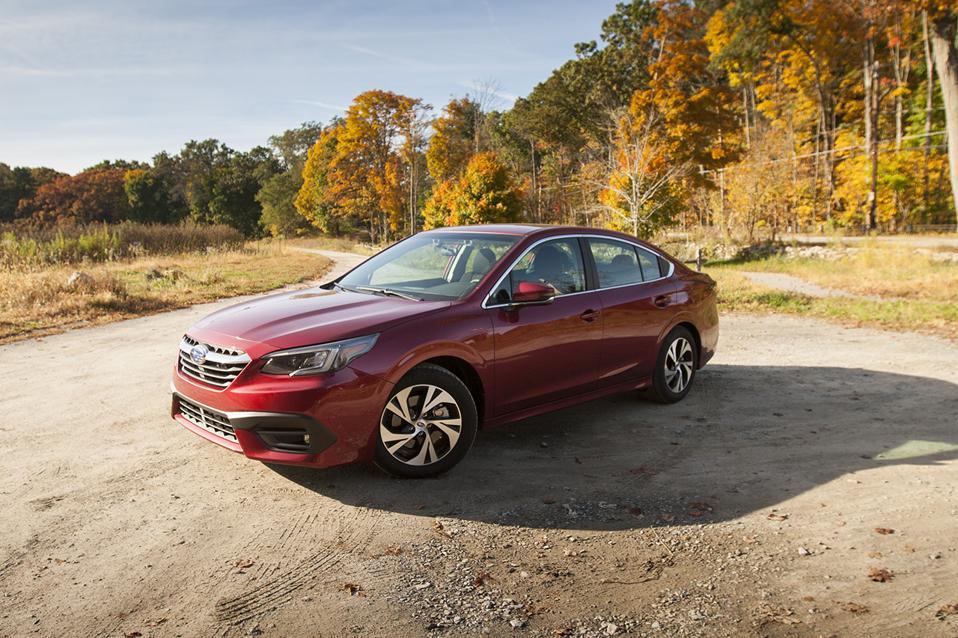 Red 2020 Subaru Legacy 2.5i Premium sedan in autumn