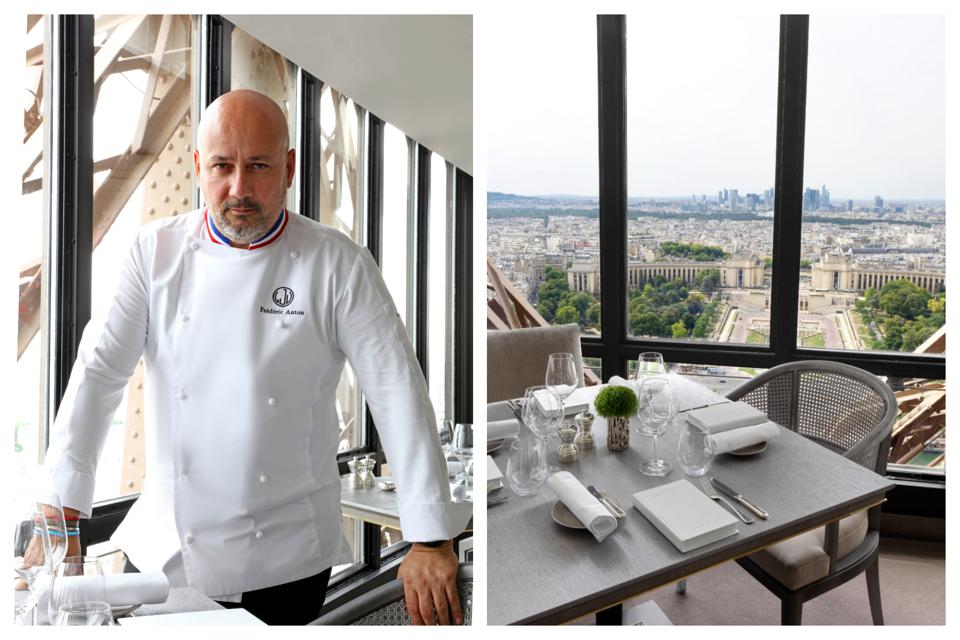 Left, three-star chef Frédéric Anton. Right, the view from the Jules Verne dining room.