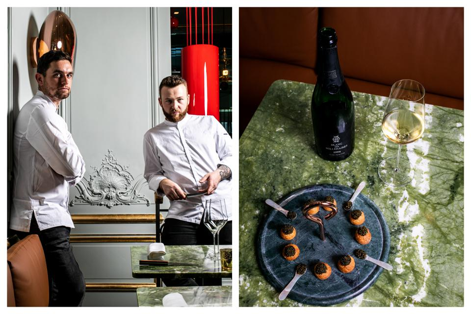 Left, Contraste chefs Kevin de Porre and Erwan Ledru at their restaurant. Right, caviar.