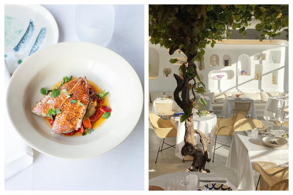 Left, red mullet dish. Right, the Mediterranean-inspired interiors of Oursin restaurant.