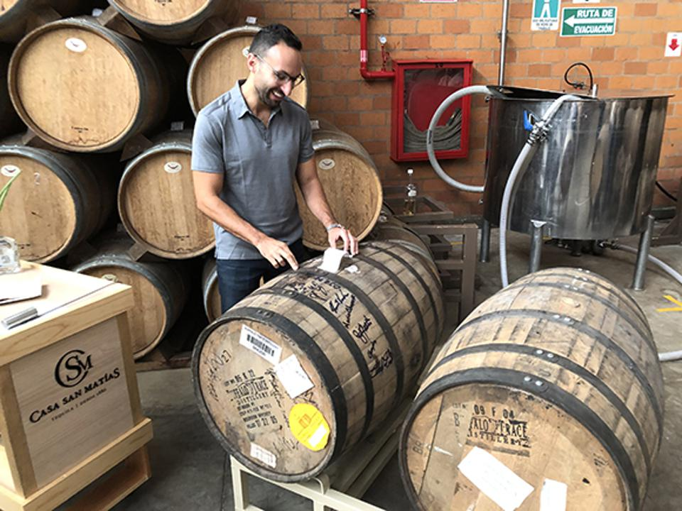 David Moritz is reunited with his Eagle Rare cask, which is now filled with tequila.